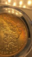 1887 MORGAN SILVER $1 DOLLAR PCGS MINT STATE 62 TONED