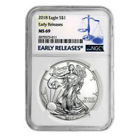 2018 $1 AMERICAN SILVER EAGLE MINT STATE 69 NGC - EARLY RELEASES