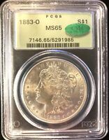 1883-O MORGAN SILVER DOLLAR $1 MINT STATE 65 CAC OLD GREEN HOLDER OGH LUSTEROUS