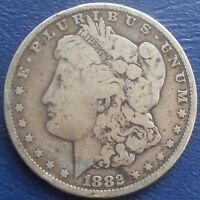 EARLY .900 SILVER 1882 P UNITED STATES MORGAN DOLLAR KM110  TONED