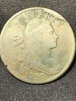 1798 DRAPED BUST LARGE CENT S-148 STYLE 1 'HORNED 9' HUGE CUD AT LIBERTY