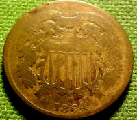 1864 TWO CENT PIECE 2C  1ST YEAR ISSUE COIN   21YJ
