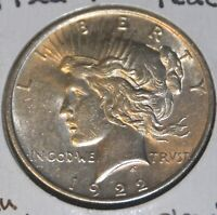 AU ALMOST UNCIRCULATED 1922-P PEACE SILVER DOLLAR $1 COIN