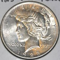 AU ALMOST UNCIRCULATED 1923-P PEACE SILVER DOLLAR $1 COIN