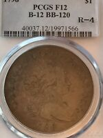 1798 DRAPED BUST DOLLAR PCGS F-12 B-12