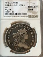 1801 DRAPED BUST SILVER DOLLAR, COUNTERSTAMPED , NGC VG-10 BRUNK-U-2