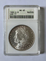 1880-S MORGAN SILVER DOLLAR VAM 11 ANACS GRADED MINT STATE 65 CERTIFIED