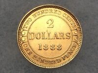 1888 NEWFOUNDLAND GOLD $2 DOLLAR CANADA COIN NICE HIGHER GRA