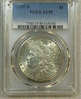 1887 S MORGAN SILVER DOLLAR PCGS AU 55    SPECIMEN FOR BETTER DATE  058