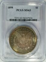 1898 SILVER MORGAN DOLLAR PCGS MINT STATE 63 ALBUM TONING TONED TONER END ROLL COIN