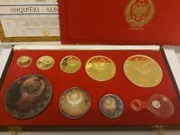 1968 ALBANIA ALBANIEN SHQIPERI GOLD COIN SET 8 COINS IN TOTAL WITH BOX AND CERT