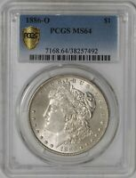 1886-O MORGAN DOLLAR $ MINT STATE 64 SECURE PLUS PCGS  938805-3