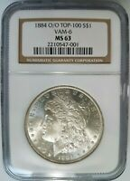 1884 O/O SILVER MORGAN DOLLAR NGC MINT STATE 63 VAM 6 REPUNCHED MINT MARK RPM COIN