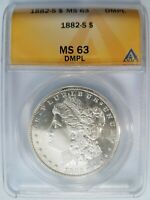1882 S SILVER MORGAN DOLLAR ANACS MINT STATE 63 DMPL DEEP MIRRORS PROOF LIKE DPL WHITE