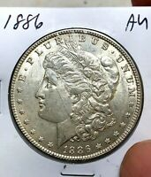 US 1886 $1 MORGAN SILVER DOLLAR US COIN AU ALMOST UNCIRCULATED9