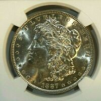 1887 MORGAN SILVER DOLLAR MINT STATE 64 NGC BRILLIANT LUSTER 004