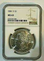 1881-S $1 NGC MINT STATE 63 MORGAN SILVER DOLLAR   EXCELLENT LUSTER  008