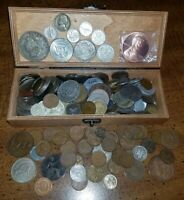 JUNK DRAWER LOT IN WOOD PEN BOX US / WORLD COINS   USA & WOR