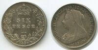 K07   GREAT BRITAIN 6 PENCE 1897 KM779 XF SILVER QUEEN VICTO