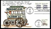 1983 OMNIBUS COIL PAIR FDC 1897   HAND PAINTED BY JUDITH FOG