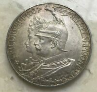 1901 A GERMAN STATES PRUSSIA 5 MARK   BIG SILVER