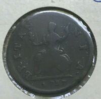 1737 GREAT BRITAIN FARTHING   FUN 18TH CENTURY COPPER