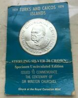 1974 TURKS AND CAICOS 20 CROWNS SILVER UNCIRCULATED   WINSTON CHURCHILL