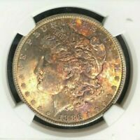 1886 MORGAN SILVER DOLLAR  NGC MINT STATE 64 WOW STUNNING TONED OBV. REF25-043