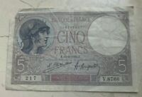 1922 FRANCE 5 FRANCS   WORLD CURRENCY BANK NOTE   TORN CORNER