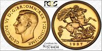 GEORGE VI 1937 HALF SOVEREIGN PCGS PR 64