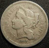 1867 THREE CENT PIECE   FULL LIBERTY SOME HAIR LEAF AND LINE