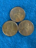 LOT OF 3 US LINCOLN WHEAT CENT PENNY - 1950-D, 1952-D, 1955-D
