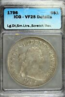 1796 - ICG VF25 DETAILS LG.DT,SM.LTRS,SCRATCH REVDRAPED BUST DOLLAR  HD0089