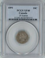 CANADA 1891 SILVER 10 CENTS 21 LEAVES PCGS XF40