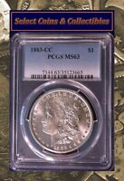 1883-CC MORGAN SILVER DOLLAR - PCGS MINT STATE 63 BLAST WHITE DIE CLASH VAM-3A? NO-483