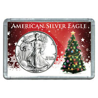 1991 $1 AMERICAN SILVER EAGLE WITH CHRISTMAS TREE DESIGN HOLIDAY GIFT HOLDER