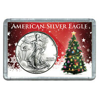 1993 $1 AMERICAN SILVER EAGLE WITH CHRISTMAS TREE DESIGN HOLIDAY GIFT HOLDER