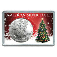 1999 $1 AMERICAN SILVER EAGLE WITH CHRISTMAS TREE DESIGN HOLIDAY GIFT HOLDER