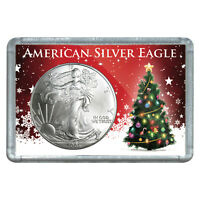 2003 $1 AMERICAN SILVER EAGLE WITH CHRISTMAS TREE DESIGN HOLIDAY GIFT HOLDER