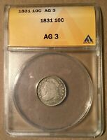 1831 ANACS AG3 CAPPED BUST DIME 10C