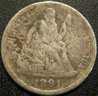 1891 O SEATED LIBERTY DIME   MAJORITY OF THE MAJOR DETAILS A