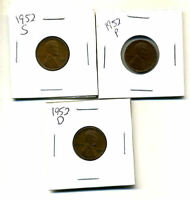 1952 P,D,S WHEAT PENNIES LINCOLN CENTS CIRCULATED 2X2 FLIPS 3 COIN PDS SET542