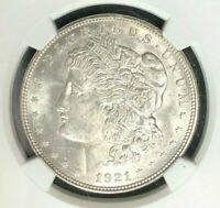 1921-D MORGAN SILVER DOLLAR  NGC MINT STATE 62 BEAUTIFUL COINREF03-004