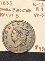1835 LARGE CENT SMALL 8 AND STARS N-13 R4