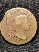 1795 LARGE CENT CLIPPED PLANCHET   BROWN COLOR HIGHER GRADE SLIGHTLY GRAN