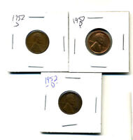 1952 P,D,S WHEAT PENNIES LINCOLN CENTS CIRCULATED 2X2 FLIPS 3 COIN PDS SET290