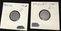 1865  & 1867 THREE CENT NICKEL CIRCULATED