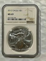 2012 SILVER EAGLE DOLLAR 1 OZ SILVER COIN NGC MINT STATE 69  034