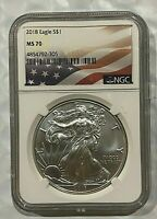 2018 SILVER EAGLE  NGC MS70   FLAG LABEL