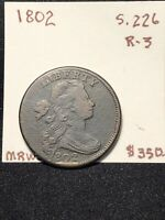 1802 DRAPED BUST LARGE CENT S.226 R-3 OBVERSE RIM CUD UNDER DATE